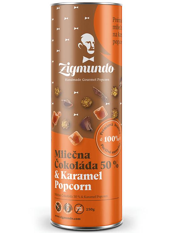 Zigmundo Mliečna čokoláda 50% & Karamel popcorn 250g